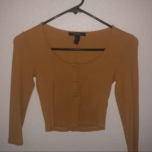 f21 cropped button up long sleeve
